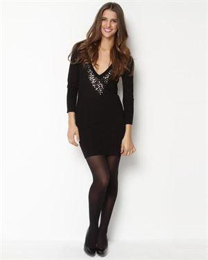 Renee C. Sequin V-Neck Sweater Dress