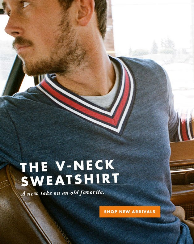The V-Neck Sweatshirt - A new take on an old favorite.
