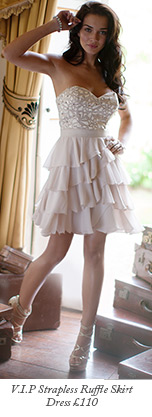V I P Strapless Ruffle Skirt Dress