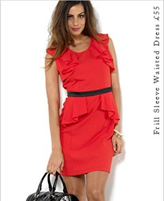 Frill Sleeve Waisted Dress