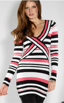 Cross Front Stripe Jumper