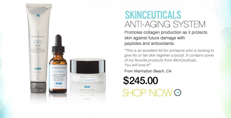 "SkinCeuticals Anti-Aging System Promotes collagen production as it protects skin against future damage with peptides and antioxidants. ""This is an excellent kit for someone who is looking to give his or her skin regimen a boost. It contains some of my favorite products from SkinCeuticals. You will love it!"" –From Manhattan Beach, CA $245 Shop Now>>"