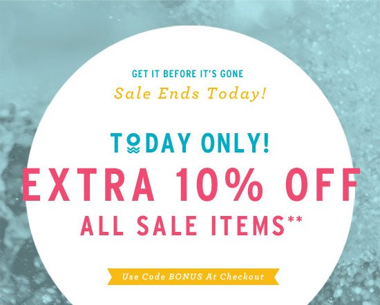 Today Only! Extra 10% Off All Sale Items** - Use Code BONUS At Checkout. Sale ends today. Get it before it's gone.