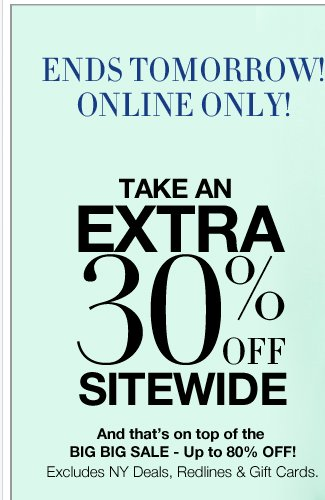Take an extra 30% off sitewide - Last day! Use promo 3669 at checkout! Plus shop unbelievable NY Deals!