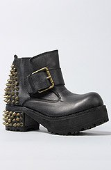 The Spiked Ving Boot in Black Distressed