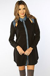 The Innocent Hearts Long Sleeve Shirt Dress in Black & Dark Chambray