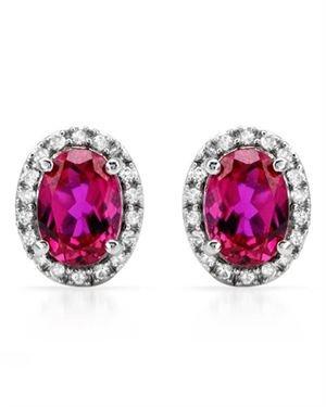 Ladies Ruby Earrings Designed In 10K White Gold