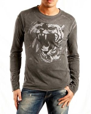 Just Cavalli Animal Print Men's Long-Sleeved Shirt Made In Italy