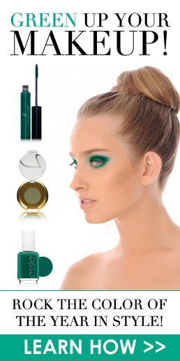 Green Up Your Makeup! Rock the color of the year in style! Learn How>>