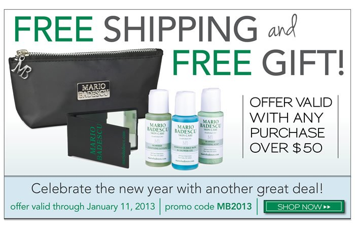 Complimentary Shipping and Gift with any purchase over $50 using promo code: MB2013. Check out our NEW bags!