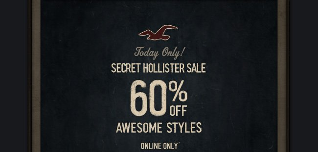 SECRET HOLLISTER SALE  60% OFF AWESOME STYLES ONLINE ONLY*