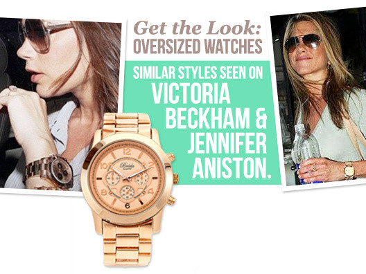 This is the arm candy of the moment, and it doesn't get more delicious than this rose gold over sized watch.