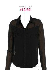 Fringe Front Chiffon Shirt