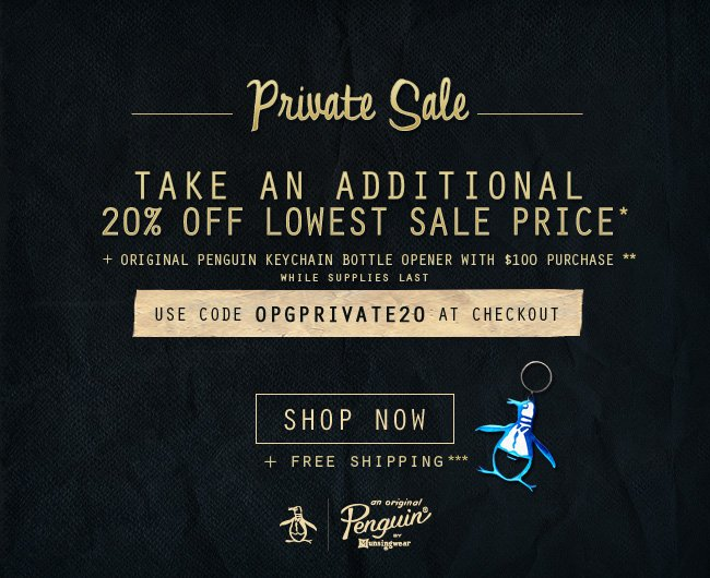 Take an additional 20% off lowest sale price* + metal Key Chain bottle opener with $100 purchase**