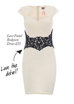 Lace Panel Bodycon Dress
