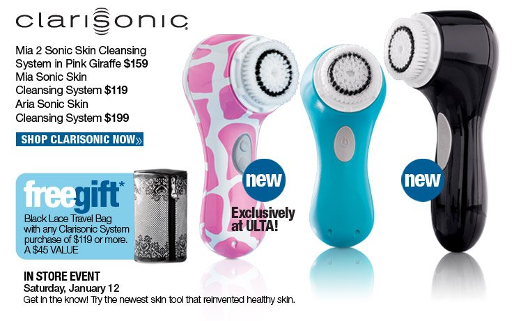 Free Black Lace Travel Bag with any Clarisonic Systems purchase of $199 or more. A $45 Value. Shop Clarisonic Now.