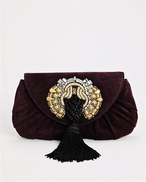 Gucci LU Suede Beaded and Tasseled Clutch $699
