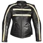 Xelement Armored Womens Black Leather Stripe Speedster Motorcycle Jacket