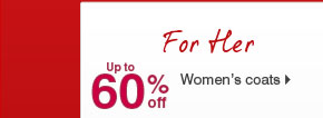 Up to 60% off Women's coats