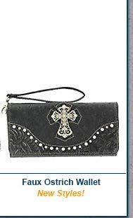 Faux Ostrich Wallet
