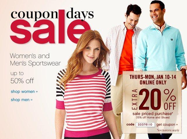 Coupon Days Sale. Extra 20% off. Get coupon.