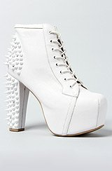 The Spike Shoe in White With White Studs