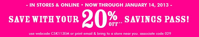 20% Off Savings Pass!