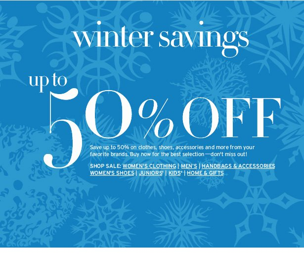 winter savings up to 50% OFF