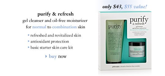 only $43, $55 value! – purify & refresh – gel cleanser and oil-free moisturizer for normal to combination skin…