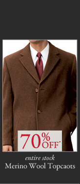 70% OFF* Merino Wool Topcoats