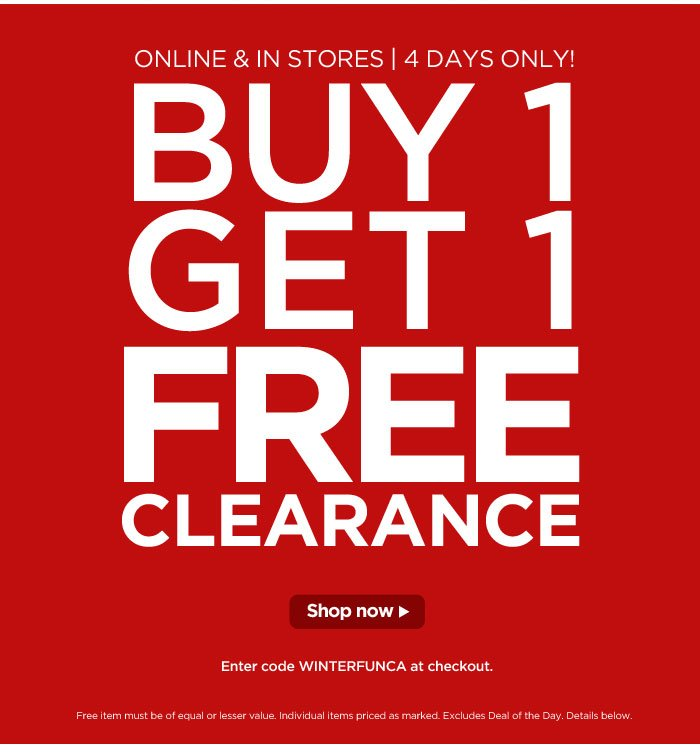 Buy One, Get One Free Clearance