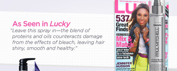 As Seen in Lucky. &quote;Leave this spray in—the blend of proteins and oils counteracts damage from the effects of bleach, leaving hair shiny, smooth and healthy.&quote;