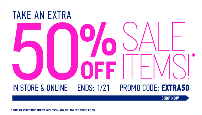 Extra 50% Off Sale Items - Limited Time Only! - Shop Now