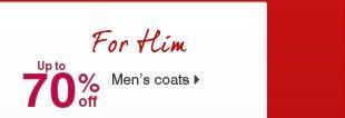 Up to 70% off Men's coats