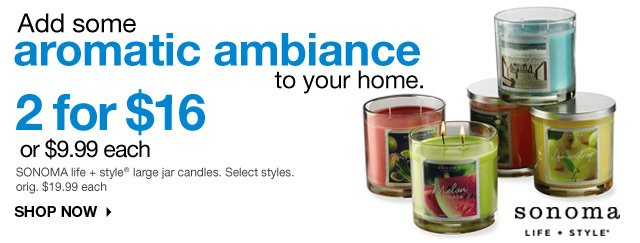 Add some aromatic ambiance to your home. 2 for $16 or $9.99 each SONOMA life + style large jar candles. Select styles. orig. $19.99 each. SHOP NOW.