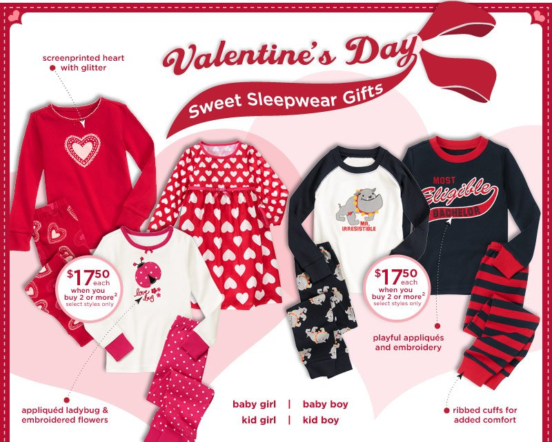 Valentine's Day. Sweet Sleepwear Gifts. Screenprinted heart with glitter. Appliqued ladybug & embroidered flowers. Playful appliques and embroidery. Ribbed cuffs for added comfort