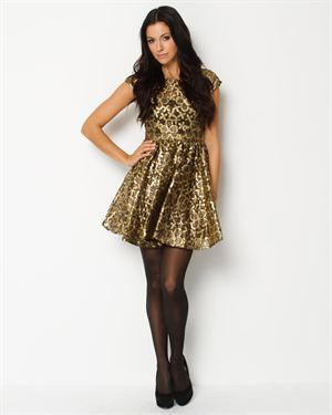 Eros Apparel Metallic Floral Dress $45