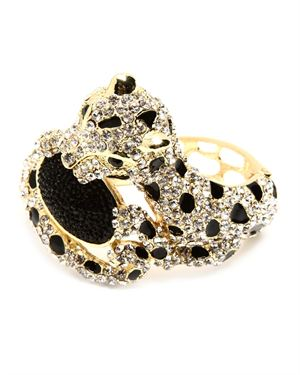 Amrita Singh Leopard Cuff With Austrian Crystals and Resin Stones