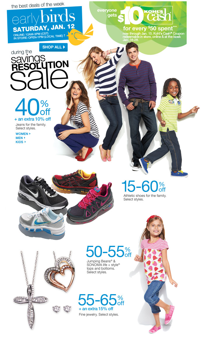 Everyone gets $15 Kohl's Cash for every $50 spent now through November 25. Kohl's Cash Coupon redeemable in store, online & at the kiosk November 26 through December 3.