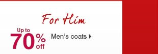 Up to 70%  off Men's coats