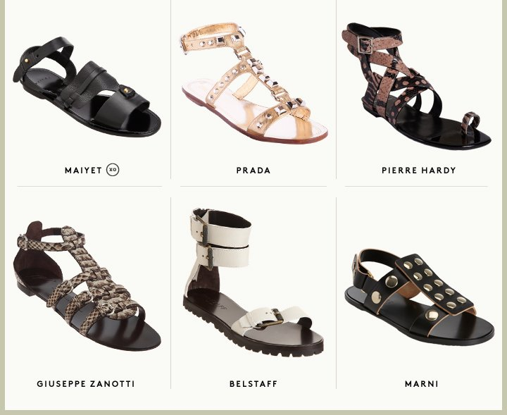 Shop women's gladiator sandals from Prada, Marni and more.