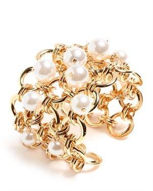 Amrita Singh Resin & Chain Link Heliomets Cuff Bracelet