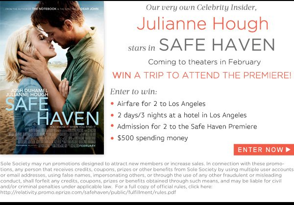 Win a trip to LA to attend the premiere of Safe Haven starring Julianne Hough!