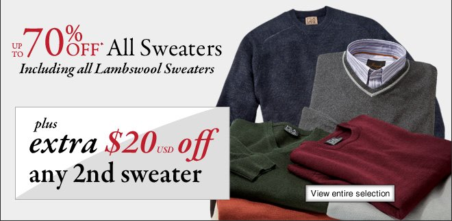 Up To 70% OFF* Sweaters PLUS Extra $20 USD Off any 2nd Sweater
