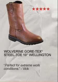 "Wolverine GORE-TEX Steel-toe 10"" Wellington"