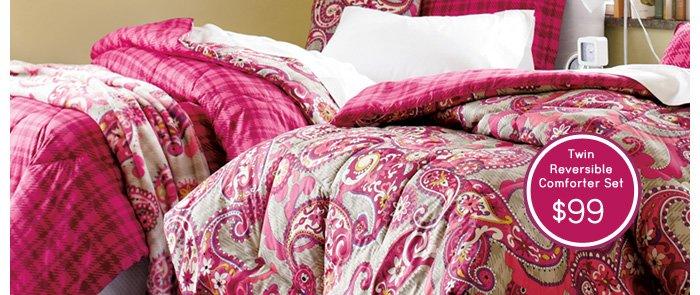 Twin Reversible Comforter Set - $99
