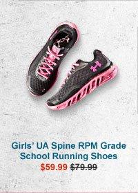 GIRLS' UA SPINE RPM GRADE SCHOOL RUNNING SHOES - $59.99