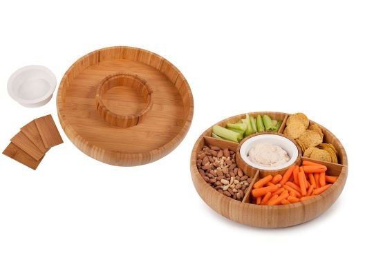 This Core Bamboo Chip and Dip bowl looks so elegant and simple, but beneath it's beautiful design is a very clever twist.
