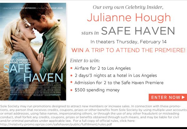 Win a trip to LA to atend the premiere of Safe Haven, starring Julianne Hough!