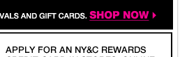 Enjoy and extra 20% off when you open and use the NY&C Rewards Credit Card!